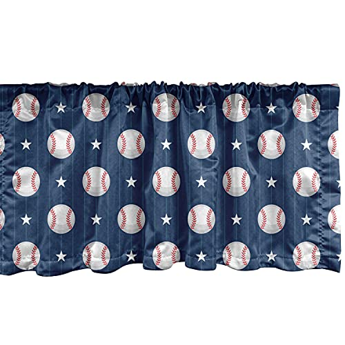 """Ambesonne Sports Window Valance, Baseball Patterns on Vertical Striped Background Stars Design, Curtain Valance for Kitchen Bedroom Decor with Rod Pocket, 54"""" X 12"""", Blue Red"""