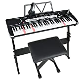 LAGRIMA LAG-760 61 Key Electric Keyboard Piano with Stand, Light Up Keys for Beginner, Lighted Portable Keyboard w/Bag, Micphone, Power Supply, Music Stand, Adjustable Stool, Black