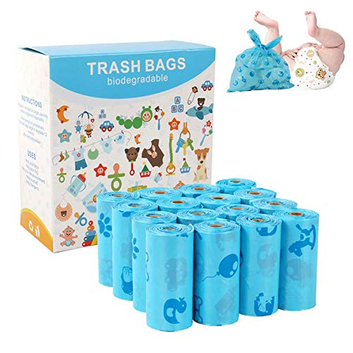 MMMWQ 240 Count Windelentsorgungsbeutel Umweltfreundliche Baby-Einwegwindeltaschen 100% biologisch abbaubare Wickelsäcke blau Windelbeutel ohne Duft
