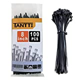 Zip Ties 8 inch Black Zip Tieswith 50Pounds Tensile Strength,Cable Ties,100 Pieces,by Tantti Supply