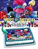 Cakecery Trolls World Tour Edible Cake Image Topper Personalized Birthday Cake Banner 1/4 Sheet
