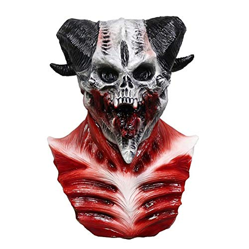 AAWFUL Máscara De Calavera De Demonio De Cueva Esqueleto Cabra De Sangre Sucker Diseño De Zombie Máscara De Caníbal Látex Disfraz De Halloween para Adulto