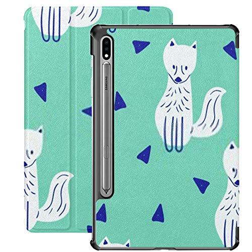 Funda para Samsung Galaxy S7 Plus con patrón Infantil sin Costuras Cute Fox Creative PU Funda de Cuero para Samsung Galaxy Tab S7 Plus 12.4 Pulgadas 2020, Funda para Samsung Galaxy Tab S7 Plus con a