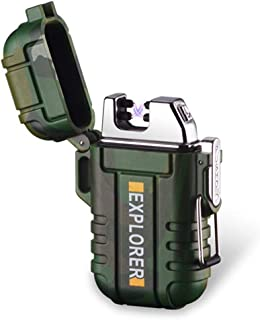 Waterproof Dual Arc Lighter,USB Rechargeable Windproof Flameless Electric Lighter with Lanyard for Outdoors Adventure Camping Hiking(Camouflage)