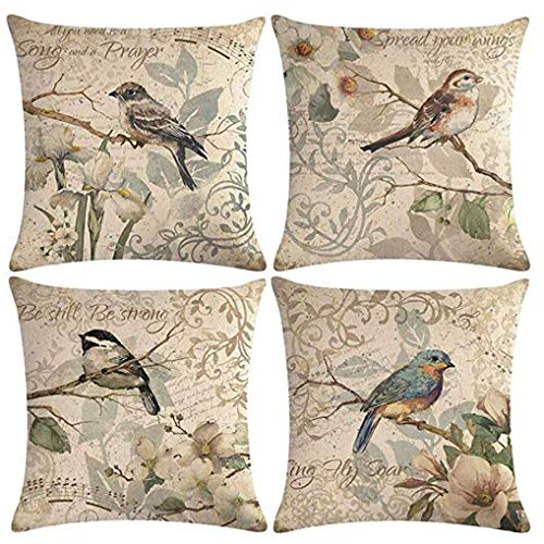"""7COLORROOM Vintage Bird Pillow Covers Birds Singing On The Branch with Flowers & Inspirational Words Cushion Cover Square Cotton Linen 4Pack Home Decorative Pillowcases 18""""×18"""" (Birds Singing)"""