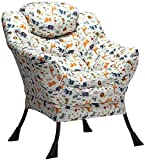 AbocoFur Modern Cotton Fabric Lazy Chair, Accent Contemporary Lounge Chair, Single Steel Frame Leisure Sofa Chair with Armrests and A Side Pocket, Thick Padded Back, Animal Print