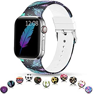 Sunnywoo Sport Band Compatible with Apple Watch 38mm 40mm 42mm 44mm, Soft Silicone Floral Fadeless Strap Replacement Bands for iWatch Series 4, Series 3, Series 2, Series 1,Sport Edition Women Men