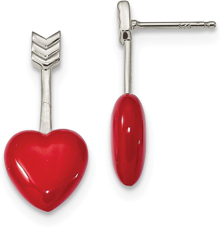 Diamond2Deal Solid 925 Sterling Silver Rhodiumplated Arrow Red Enamel Heart Drop Earrings