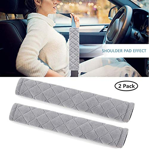 Moonet Auto Seat Belt Shoulder Protector Harness Pad,Soft Skin-Friendly Universal Seatbelt Cover for More Comfortable Driving,Multipurpose for Handbag Carmera Backpack Straps,2pc(Gray)
