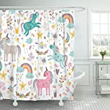 Stoff Duschvorhang mit Haken Blaues Mädchen mit Einhörnern Rosa Baby Regenbogen Pfeil Tier Schöne Cartoon Wolke Dekoratives Badezimmer behandelt, um einer Verschlechterung durch Mehltau zu widerstehen