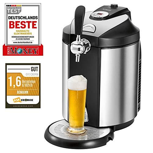 Bomann BZ 6029 CB Bierzapfanlage für alle handelsüblichen 5 Liter-Partyfässer, LED-Display zur komfortablen Temperaturregelung/Kühlung von 2°C-12°C, hochwertiges Edelstahlgehäuse
