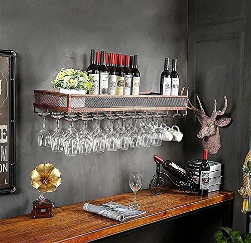 AERVEAL Soporte para Copa de Vino Colgante para Botellero Montado en la Pared | Porta Botellas de Vino Vintage | Soporte de Alenamiento Rústico para Vino Montado en la Pared (Color:, Tamaño: 80X35Cm)