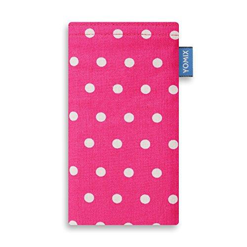 YOMIX Gunilla Pink Handytasche Tasche für Samsung Galaxy A80 aus beschichteter Baumwolle mit Microfaserinnenfutter | Hülle mit Reinigungsfunktion | Made in Germany