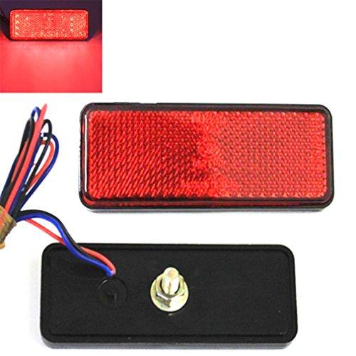 Qiorange 2X Rectangle Reflector Waterproof 24 LED Marker Tail Brake Stop Light Car Trailer Truck for RV,Trailer,Truck,UTE,UTV,ATV,Motorcycle (Red Rectangle)