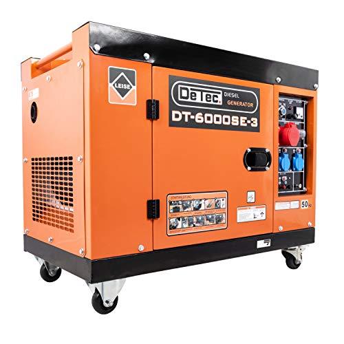 DeTec. 3-Phasen Diesel Generator Notstrom Aggregat DT-6000SE-3 230V 5.5 kW max. Leistung, mit Rollen