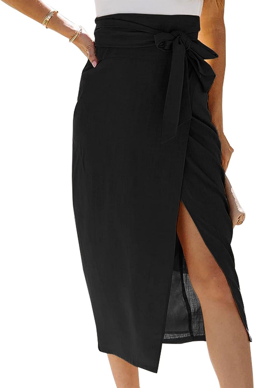 PiePieBuy Womens High Waist Skirt Solid Color Tie Waist Casual Slit Wrap Maxi Skirts
