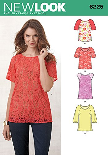 Simplicity Creative Patterns New Look 6225 Misses' Tops in Two Lengths, A (8-10-12-14-16-18-20)