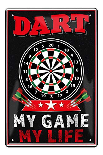 Blechschild Dart, My Game, My Life - Dart Dekoration Schild - Dekoblechschild für Dartspieler - schöne Deko für Dart Scheibe zu Hause, Bar, Pub, oder Kneipe - Dart Zubehör - Dart Spruch - 20x30cm