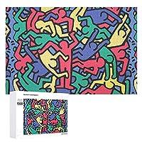 パズル ジグソーパズル 1000ピース 500ピース キース ヘリング おもちゃ 知育玩具 木製 puzzle 装飾画 ピクチュアパズル ウォールアート 壁掛け アートフレーム 壁飾り 収納ケース付き52cm*38cm/75cm*50cm