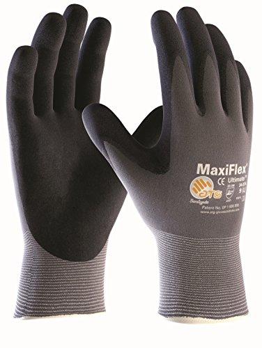10 Paar Maxiflex Ultimate Nylon-Strickhandschuhe grau/schwarz, ATG 34-874 Größe 9
