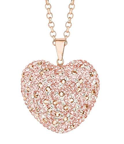 Noelani Damen-Kette 80 cm mit Herz-Anhänger rosévergoldet veredelt mit Kristallen von Swarovski