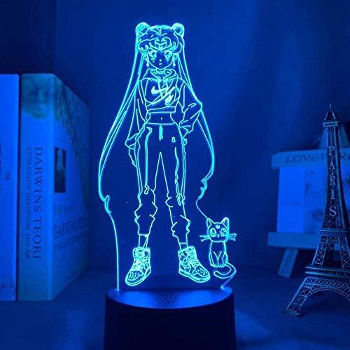 YGQersh Anime Sailor Moon Led Luz de Noche para Dormitorio Decoración Regalo de Cumpleaños Lámpara de Noche de Marinero Luz de Luna Gota Envío Gadget