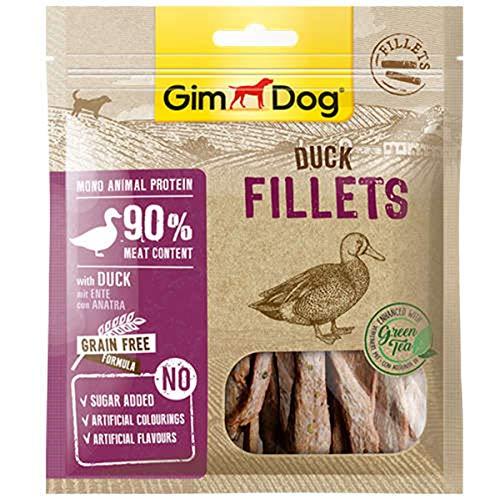 GimDog Duck Fillets - Getrockneter Hundesnack mit 90% Fleisch und getreidefreier Formel - 1 Packung (1 x 60 g)