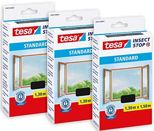 tesa 55672 Insect Stop STANDARD Fliegengitter für Fenster im 3er Pack-Insektenschutz zuschneidbar-Mückenschutz ohne Bohren-3 x Fliegen Netz 130 cm x 150 cm, Anthrazit (durchsichtig), Ohne Kaltstart
