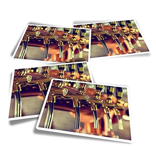 Pegatinas rectangulares de vinilo (juego de 4) – Cerveza grifos bar restaurante divertidos adhesivos para portátiles, tabletas, equipaje, reserva de chatarra #21215