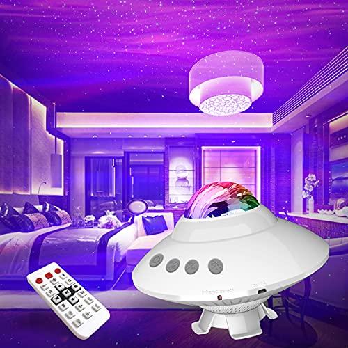 WEKSUN Proiettore Stelle Soffitto, Lampada Proiettore di Stelle Proiettore Cielo Stellato con 1/2H Timer 14 Colori Proiettore Galassia Bluetooth Musicale lucina notturna per Natalizio,Bambini,Adulti