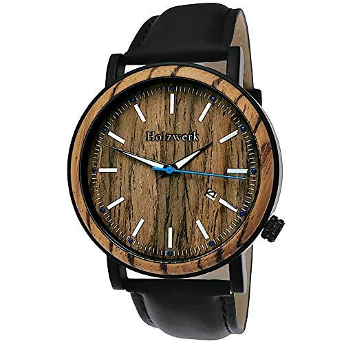 Handgefertigte Holzwerk Germany® Designer Herren-Uhr Öko Natur Holz-Uhr Leder Armband-Uhr Analog Klassisch Quarz-Uhr Braun Schwarz mit Datumsanzeige Holz Ziffernblatt (Schwarz)