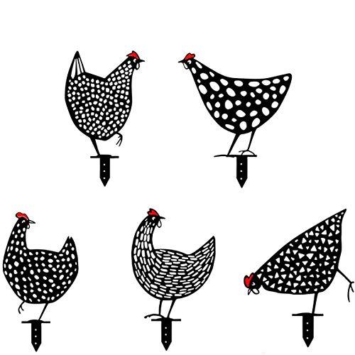 MOZX 5 Stück Rost Hühner Deko Garten, Metall Hühner Gartenstecker, Chicken Yard Art Gartenschilder, Huhn und Hühner Garten Deko, Rasen Hühner Garten Im Jahr 2021