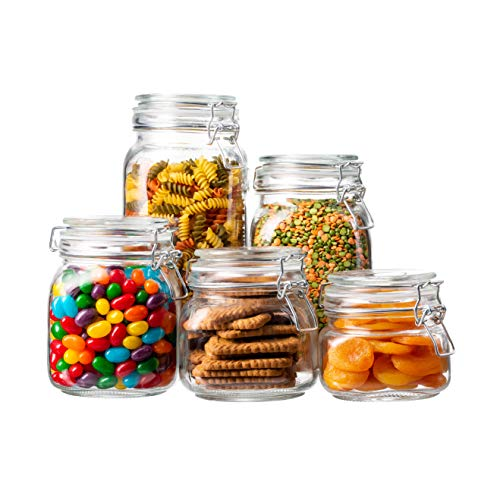 EatNeat 5-Piece Airtight Glass Kitchen Canisters with Glass Lids - Set of 5 Mason Jars for Food Storage, Organization, and Canning - Food Storage Containers that Hold 68, 51, 34, 27, and 17 Ounces