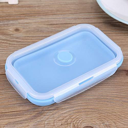 Socobeta Caja de almuerzo de silicona 800ml Contenedor de comida para frutas (azul)
