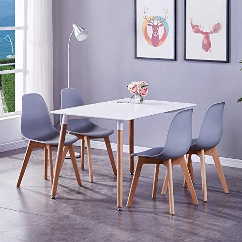 GOLDFAN Esstisch mit 4 Stühlen Moderner 120cm Rechteckiger Hochglanz Küchen Esstisch Holz für Esszimmer Wohnzimmer Büro, Weiß& Grau