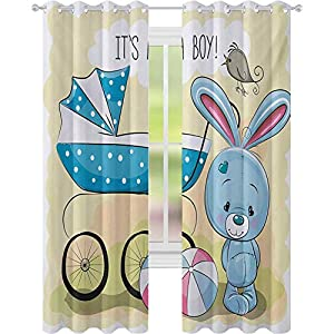 Crib Bedding And Baby Bedding Window Treatments Curtains, Cute Bunny Baby Carriage And Ball Its Boy Message Kids Design, W52 X L72 Curtains For Baby Nursery Room, Avocado Green Blue