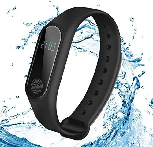 JIAJBG Rastreador de fitness, reloj inteligente integrado de frecuencia cardíaca, monitoreo del sueño de notificación inteligente, movimiento de paso, deporte, seguimiento de fitness, uso diario/negro