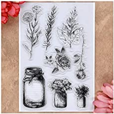 KWELLAM Flowers Leaves Bottle Chrysanthemum Sun Flower Rose Clear Stamps for Card Making Decoration and DIY Scrapbooking