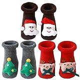 Tomaibaby 3 Pares de Calcetines Navideños para Niños Pequeños Antideslizantes Calcetines Navideños para El Piso Medias Cálidas de Invierno Calcetines para El Hogar para Bebés Recién Nacidos