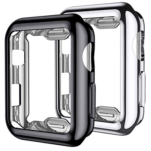Mastten - Juego de 2 fundas compatibles con protector de visualización para Apple Watch de 38 mm, 40 mm, 42 mm, 44 mm, carcasa de TPU HD, ultrafina compatible con iWatch Series 5 4 3 2 1, 44mm for series 5 4, Negro/Plateado