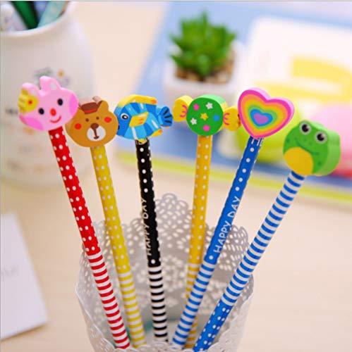 CHSYOO 30 x Lápices HB dureza con juego borrador, regalo para fiesta cumpleaños niños Fiesta jardín recompensas escolares (colores son aleatorios)