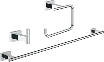 GROHE 40777001 Essentials Cube Guest Bathroom Accessories Set 3-in-1 Chrome
