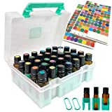 Essential Oil Storage Case Carrying Oil Organizer Holder Hard Shell Box With Handle For Travel Protects 35 Bottles from Leaks and Breakage - Holds 5ml, 10ml and 15ml Oil Bottles Snugly, 200 Labels included (Bottles Not Included)
