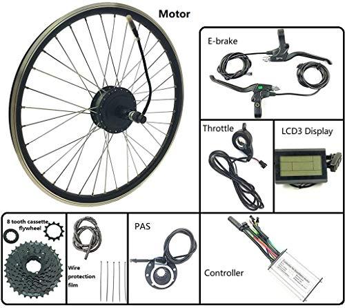 Umrüstsatz für Elektrofahrräder/Elektro-Fahrrad Umbausatz 48V 250W hinten Kassette Brushless Motor Rad mit LCD3 Anzeige Ebike Kit Elektro-Fahrrad Vorderrad Umrüstsatz, 24inch LCD-Sets Passend für di