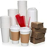Safeware 16 oz [ 100 Set] Togo Disposable White Paper Coffee Cups with Lids, Sleeves, and Stirrers | Hot Beverages | Expresso | Tea | Coffee | Latte | Hot Chocolate