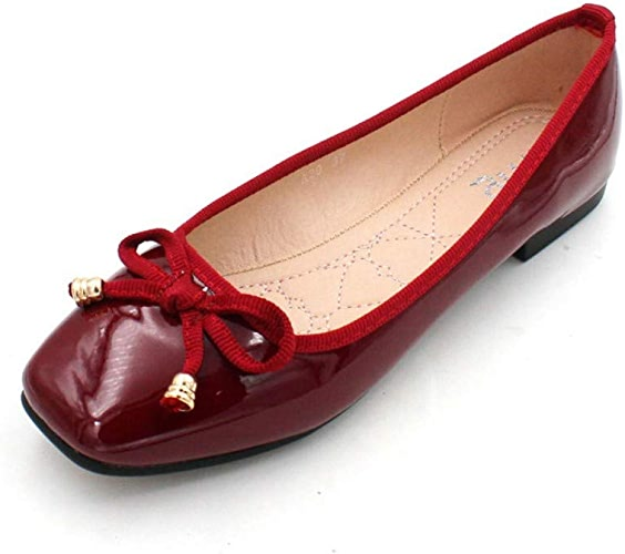 AJUNR Femmes Loisirs Le Printemps Et L'été Nouveau Style Cuir Version Coréenne 1 5 Cm à Fond Plat Arc Laque des Femmes des Chaussures De Mariage