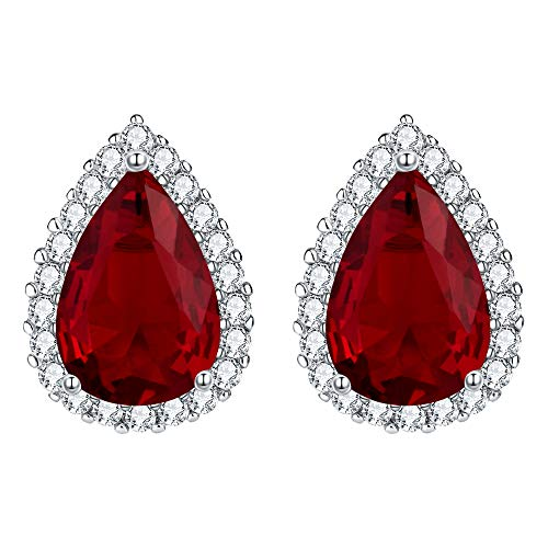 EVER FAITH Women's Prong Setting Cubic Zirconia Wedding Teardrop Stud Earrings Ruby Color Red Silver-Tone