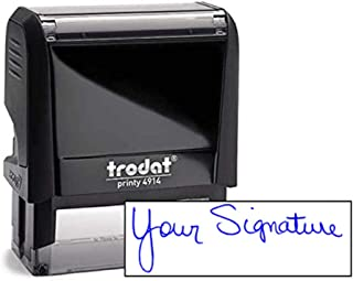 Custom Signature Stamp - Self Inking Personalized Signature Stamp - Blue Ink