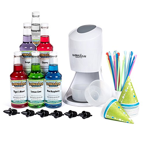 Hawaiian Shaved Ice S900A Shaved Ice and Snow Cone Machine with 6 Flavor Syrup Pack and Accessories