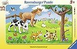 Ravensburger - 06066 - Niño Puzzle con Marco - Loving Pets - 15 Piezas